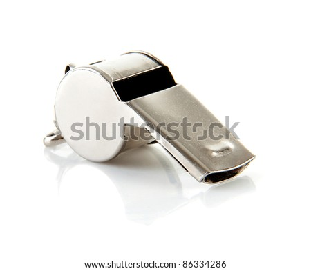 Metal coaches or referees whistle over white background