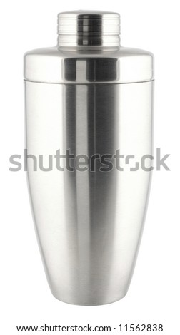 Metal cocktail shaker isolated on white.