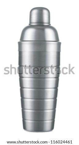 Metal cocktail shaker on white background