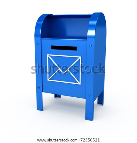 Metal color mailbox over white background. Computer generated image