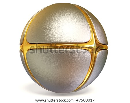metal comic  sphere on white background isolated