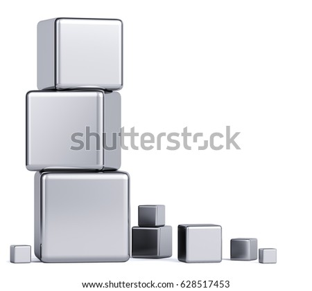 Metal cubes on a white background. Abstraction of the background. 3d render.