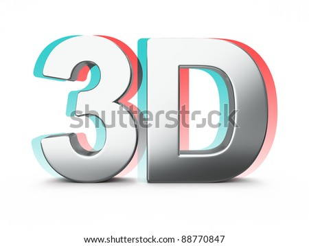 Metal 3D word on white background