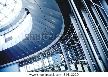 Metal details of an interior of modern office building #81413230
