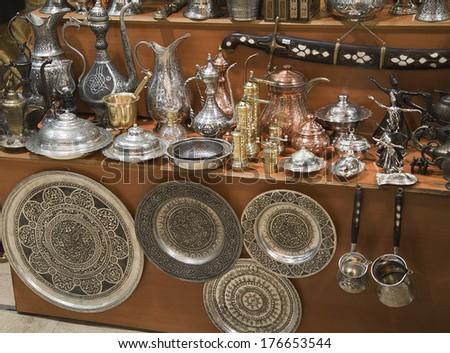 Metal dishware shop, Grand Bazaar, Istanbul