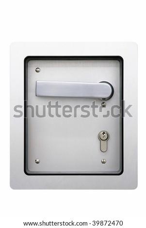 Metal door handle isolated on white