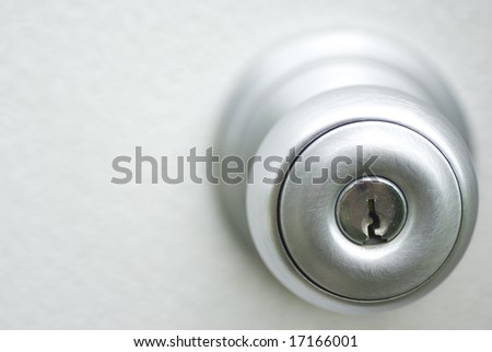 Metal door handle with key entry