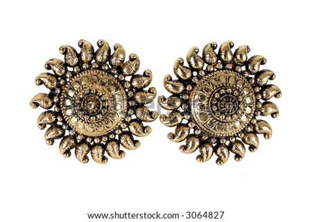 Metal earrings.