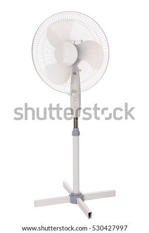 Metal electric fan, isolated on white background. #530427997