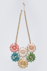 metal feminine necklace. in the form of flowers