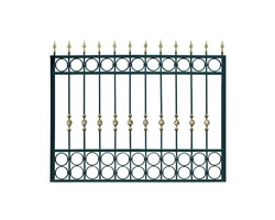 Metal fencing. Isolated over white background.