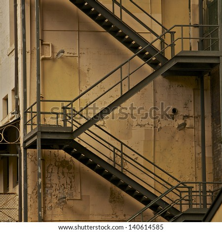 Metal Fire Escape Stairs, Back Of The Building #140614585