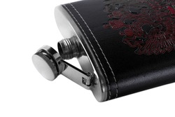 Metal flask in a leather case with a pattern depicting a doubleheaded eagle on a white background