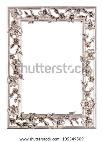 Metal floral picture frame isolated