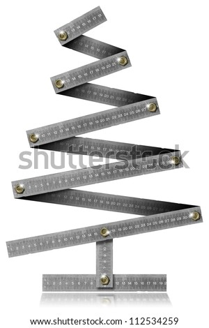 Metal Folding Rule Christmas Tree / Metallic Christmas tree with bolts heads on withe background