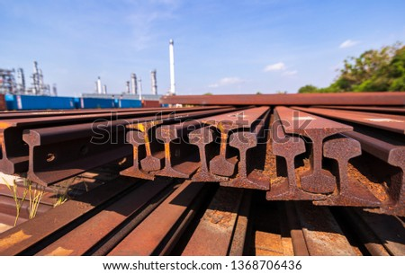 metal frame H beam or beam in red orange color at construction site. #1368706436