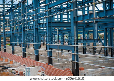 Metal framework building under construction. #630641510