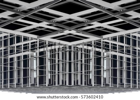 Metal framework of modern building. Supporting structures. Reworked photo of industrial architecture fragment. Construction industry. Abstract grid background. #573602410