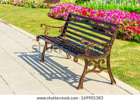 metal garden chair on garden