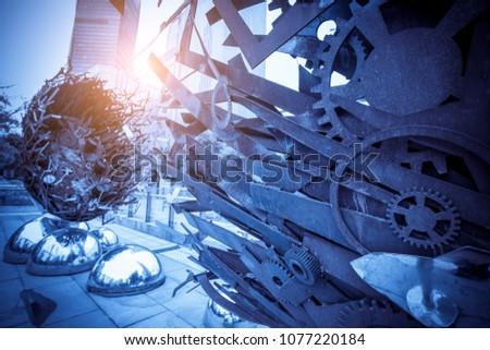 Metal gear with blue tone Zdjęcia stock ©