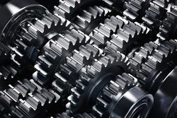 Metal gears group complex industrial mechanism
