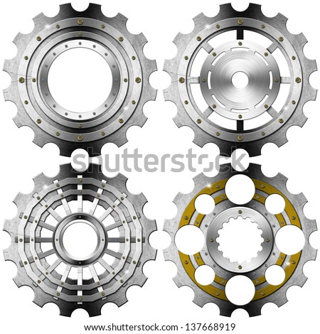Metal Gears on a White Background / Four metal and gold gears with bolts isolated on white background