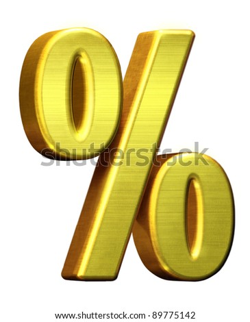 Metal golden % percent, percentage symbol isolated white background