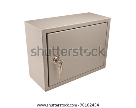 Metal grey box with door, padlock and keys in the keyhole isolate on white.