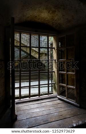 Metal grill of house; Belgium #1252973629