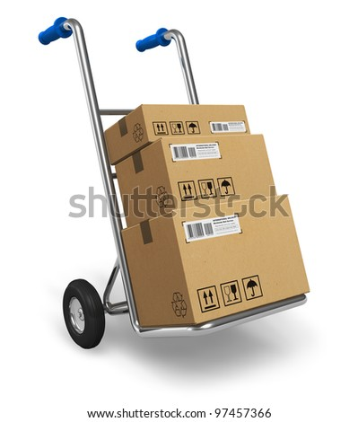 Metal hand truck with cardboard package boxes isolated on white background
