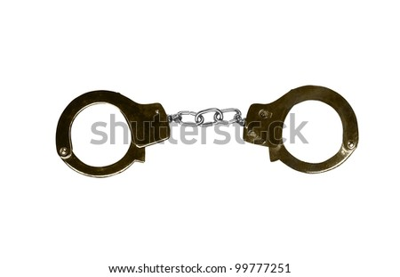 Metal handcuffs isolated on the white background.