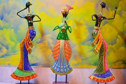 Metal Handicraft  dolls of  vibrant color at Rajasthan in India . Ethinic dress and culture of Rajasthan is reflected in the dolls