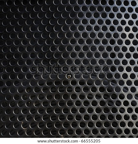 Metal holed or perforated grid background  Black hole