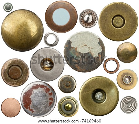 Metal jeans buttons, rivets set. Isolated on white background.