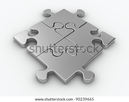 Metal jigsaw piece connected in puzzle structure - 3d render