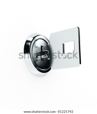 Metal key over white background. 3d rendered image - stock photo