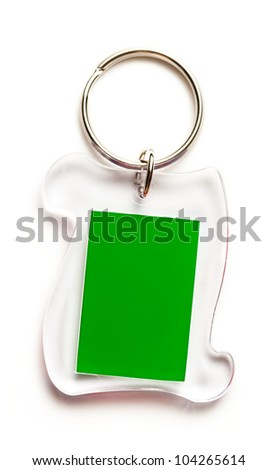 Metal key ring with plastic label