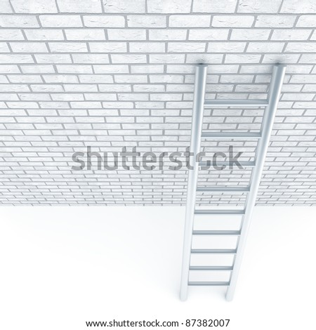 Metal ladder and a wall of white bricks - stock photo