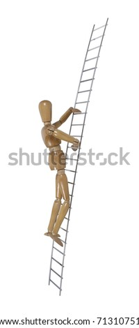 Metal ladder used for moving up or reaching higher goals - path included