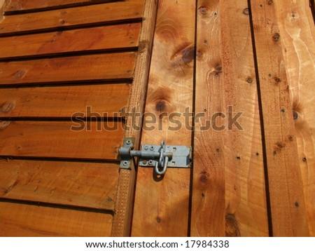 Door Latch Shed Metal Latch on Wooden Door of