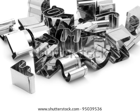 Metal letters for culinary use