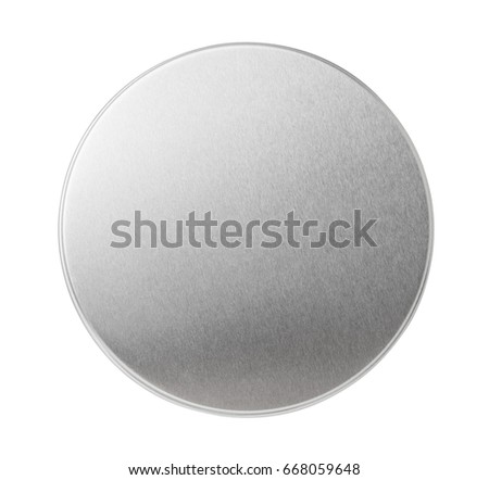 Metal lid of jar isolated on white. Top view. Stockfoto ©