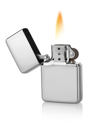 Metal lighter isolated on a white background