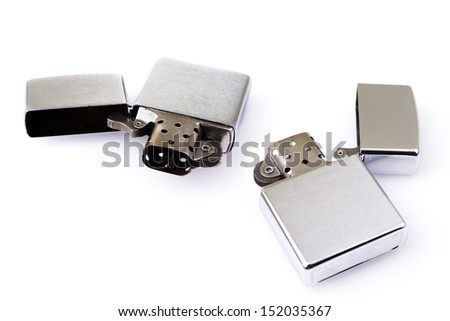 metal lighter on white background isolated