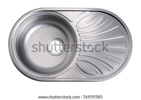 Metal linen kitchen sink isolated on white