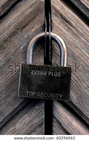 metal lock on the wooden door