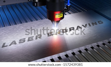 Metal machining with sparks on CNC laser engraving maching. 3D rendering Stock photo ©