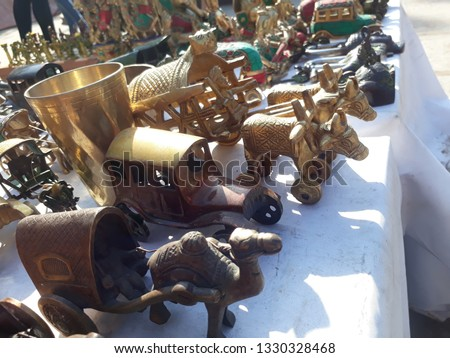Metal made items handicraft items displaying ancient Indian culture and tradition.   #1330328468
