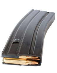 Metal magazine made for an AR-15 that holds thirty rounds
