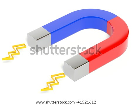 metal magnet on white background